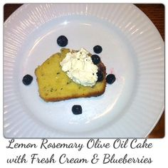 Olive Oil Cake with Lemon & Rosemary By Jennifer Jackson-Outlaw This morning as I foraged in the fridge for cream, I noticed that a pack of leftover organic rosemary was hiding in the vegetable. Olive Oil Cake, Fresh Cream, Latest Recipe, Blueberry, Lemon, Vegetables, Breakfast, Recipes, Food
