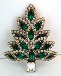 Eisenberg Ice Emeraled Green Rhinestone Christmas Tree Brooch Pin Elegant | eBay