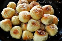 Homemade Pretzel Bites - Use frozen dinner roll dough for this or for fried dough (my family's favorite breakfast). This reminds me, living where I can't get such a convenient ingredient, to make some basic bread dough and flash freeze it in roll-size balls for quick breakfasts or snacks!