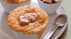 "Caramel–Fleur de Sel Mug Cake from ""Mug Cakes: 100 speedy microwave treats to satisfy your sweet tooth,"" by Leslie Bilderback. Mug Recipes, Sweet Recipes, Cake Recipes, Dessert Recipes, Cooking Recipes, Souffle Recipes, Quick Dessert, Mug Cakes, Cupcake Cakes"