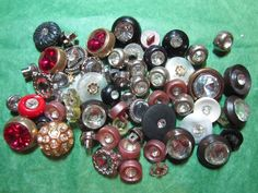 """60 - 3/8""""+ GLASS RHINESTONE MULTI-COLOR PLASTIC SHANK BUTTONS - ASSORTED LOT#784"""