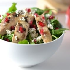 Grilled Chicken, Gorgonzola and Pomegranate salad. Fresh holiday ...