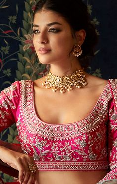 Embrace the exquisite richness of Indian designer jewelry from the Festive Winter 2019 Collection by Anita Dongre. Shop for our fine handcrafted jewelry online today. Wedding Lehenga Designs, Floral Print Sarees, Simple Pakistani Dresses, Bridal Lehenga Collection, Stylish Blouse Design, Anita Dongre, Sari Blouse Designs, Dress Indian Style, Indian Designer Outfits