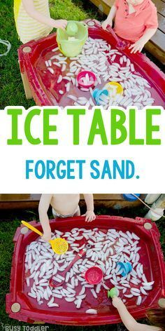 Make an Ice Table Sensory Bin - Busy Toddler - Preschool activities - Summer Activities For Toddlers, Outdoor Summer Activities, Toddler Learning Activities, Infant Activities, Fun Activities, Toddler Summer Crafts, Activities For Children, Outdoor Activities For Preschoolers, Outdoor Games For Toddlers