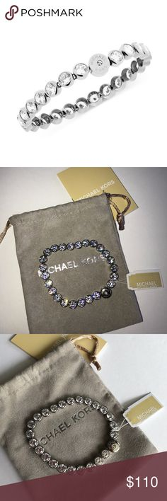 """MICHAEL KORS Park Avenue Tennis Bracelet Silver Guaranteed Authentic!! Absolutely gorgeous Michael Kors Park Avenue tennis bracelet. Silver tone with cubic zirconia. Magnetic snap closure. Length 7"""". Item will be videotaped prior to shipping to ensure proof of condition. Michael Kors Jewelry Bracelets"""