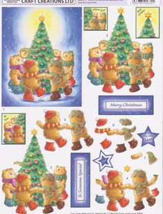 CC Little Teddy giving Mummy Teddy a Bunch of Flowers Decoupage - Card Making & Craft Supplies Christmas Sheets, 3d Christmas, Christmas Images, Christmas Cards, Xmas, Christmas Ornaments, 3d Paper, Paper Crafts, 3 D