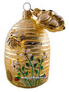 Beeskep With Bee :: Patricia Breen Ornaments Hives And Honey, Honey Bees, Bee Images, Bee Free, Buzz Bee, I Love Bees, Bee Jewelry, Bee Crafts, Save The Bees