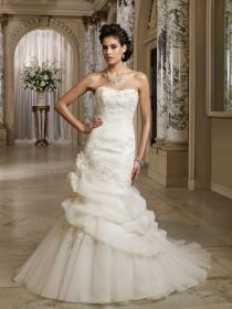 strapless asymmetrically pleated organza a line bridal gown back covered buttons