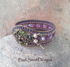 Purple Bronze Beaded Wrap Cuff Bracelet The Indian Princess