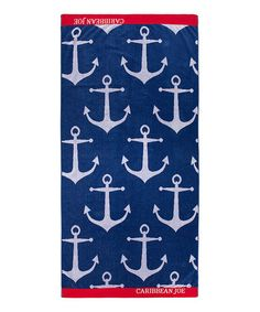 Anchors Beach Towel Red white & navy blue
