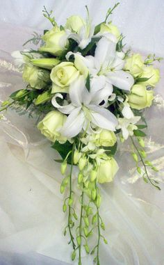 Cascade Bridal Bouquet with Green Roses, White Lillies and Orchids