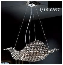 Lámpara colgante halógena    Metal:  cromo brillo    Cristal: cristales facetados K9 combinados en transparentes y smoke( fumé)    Diámetro:  520mm    Altura máx. : 1300mm    Altura min. :  300mm    Bombillas: 8 G9 máx.42w