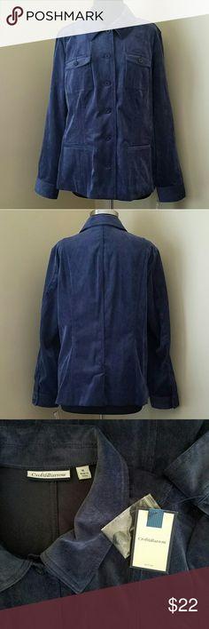 NWT Navy Pinwale Cordoroy Jacket, XL NWT Blue pinwhale corduroy casual blazer jacket with front pockets.   85% polyester, 13% nylon, 2% spandex.   Size XL by Croft & Barrow. croft & barrow Jackets & Coats Blazers