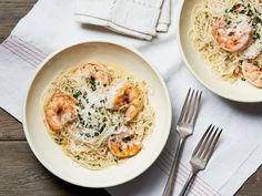 "When you're craving lemony and buttery shrimp, don't call for a reservation. Make an impressive shrimp scampi at home with these recipes from Food Network.The Pioneer Woman's Shrimp Scampi""Part of … Fish Recipes, Seafood Recipes, Pasta Recipes, Cooking Recipes, Recipies, Dinner Recipes, Game Recipes, Healthy Cooking, Yummy Recipes"