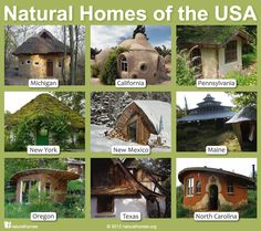 Of any country in the world the USA probably has the most diverse collection of natural building styles. From the cob homes of Oregon to the earthbag homes of California, here is a selection across nine states. You can learn about each one here www.naturalhomes.org/usa-naturalhomes.htm