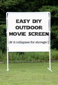 fun and easy DIY outdoor movie screen - packs up neatly for storage and goes together in minutes. DIY Outdoor Decor #diy #homedecor #outdoorentertaining
