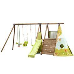 Station de jeux en pin pour enfants - 5 agrès + tipi Naturel - Fort Jungle - Jeux d'extérieur, portiques et balançoires - Mobilier et jeux pour enfant - Jardin - Décoration d'intérieur - Alinéa
