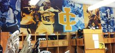 Custom designed, printed & installed wall murals for Ithaca College Lacrosse & Track locker room walls.