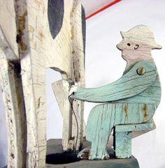 folk art whirlywigs | Vintage Folk Art Man Milking Cow Weathervane Whirligig from poppys on ...