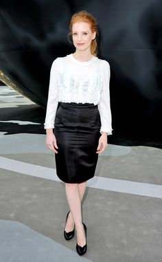 Jessica Chastain from Celebs in Black-and-White Outfits  At Chanel's fall/winter show in Paris, the actress keeps it chic in a black pencil skirt and white ruffled blouse by the designer.