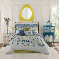 Anthology Bloomsbury Queen Full Comforter Set Yellow Blue Lime Green Leaves The Piscataquis