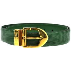 Pre-owned Louis Vuitton Ceinture Belt Buckle Green Epi Leather France (6.797.010 IDR) ❤ liked on Polyvore featuring accessories, belts, green, gucci, green belt, gucci belt, green leather belt and leather buckle belt