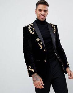 99 Adorable Gold Tuxedo Jacket Ideas For Men That Trendy Now - Prom Outfits, Blazer Outfits, Blazer Fashion, Mens Fashion Suits, Gold Tuxedo Jacket, Black Tuxedo, Gold Blazer, Black Velvet Blazer, Blazers For Men