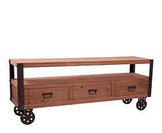 mueble para tv en madera de abeto y hierro u natural