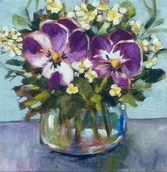 """""""Double Pansies"""" - Original Fine Art for Sale - © Libby Anderson"""