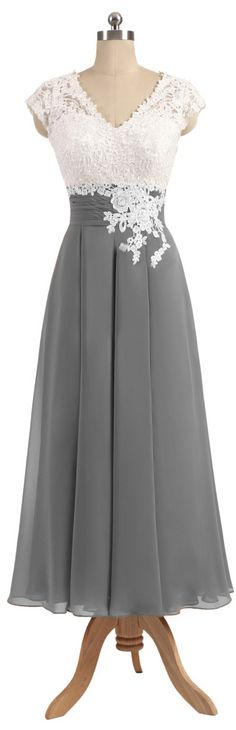 White and dark grey chiffon bridesmaid dresses,mother of the bride dresses