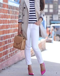 #TBT to this Spring outift - you can never go wrong with white jeans, classic trench and stripes (click the link in my profile for outfit details) http://liketk.it/2opUx