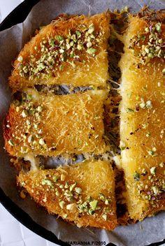 Knafeh bil Jibne (Can substitute ricotta and mozzarella for the cheese) Lebanese Desserts, Lebanese Cuisine, Lebanese Recipes, Turkish Recipes, Indian Food Recipes, Persian Recipes, Knafeh Recipe Lebanese, Arabic Dessert, Arabic Sweets
