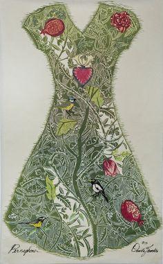 Ouida Touchon, Persephone, reduction woodcut