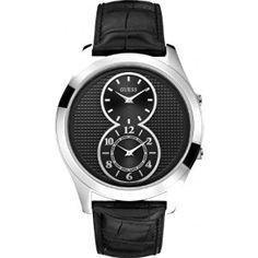 Guess W0376G1 46mm Stainless Steel Case Black Calfskin Mineral Men's Watch