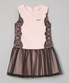 Look at this Pink & Black Lace Tulle Drop-Waist Dress - Toddler & Girls by Richie House Frock Design, Little Girl Fashion, Fashion Kids, Little Girl Dresses, Girls Dresses, Toddler Girl Dresses, Toddler Girls, Dress Anak, Dress Patterns