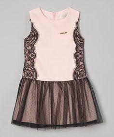 Pink & Black Lace Tulle Drop-Waist Dress - Toddler & Girls