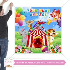 Circus Backdrop Shower Party, Baby Shower Parties, Diy Party Kits, Coca Cola Bottles, Name Banners, Happy Birthday Banners, Backdrops, Lettering, Digital