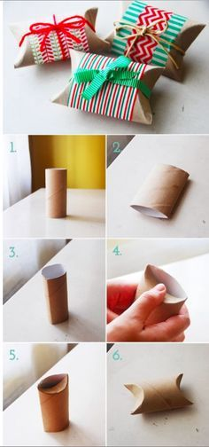 Give small presents and trinkets a precious home in a toilet paper roll. This is perfect for stocking stuffers!