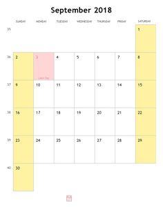 September 2018 Blank Calendar Template | September 2018 Calendar ...
