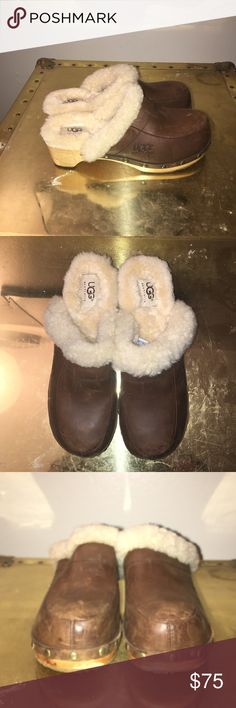 Woman's UGG Clogs Never worn before. Brown leather with shearling fur lining. Does not come with shoe box. Very comfortable and fashionable shoe 👠. UGG Shoes Mules & Clogs
