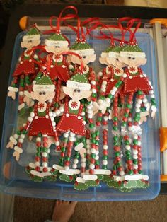 Punch Elves with candy legs or use glass beads for a more permanent ornament. by Barbara's World of Whimcees