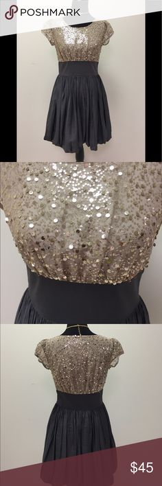 Gray & gold party dress. Embellished gold bodice with gray bubble bottom. Side zipper.  Size is true 6. 213 by Michelle Kim Dresses