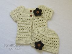 CROCHET PATTERN Toddler Cardigan & Beanie 4 by YarnBlossomBoutique