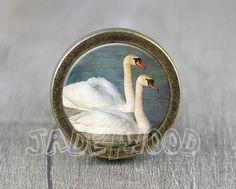 Swan  Handmade Vintage Bronze Dresser knobs cabinet door jade4wood
