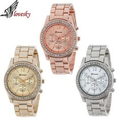 Lovesky 2016 New Fashion Faux Chronograph Plated Classic Geneva Quartz Ladies Watch Women Crystals Wristwatches Relogio Feminino  Price: 3.01 USD