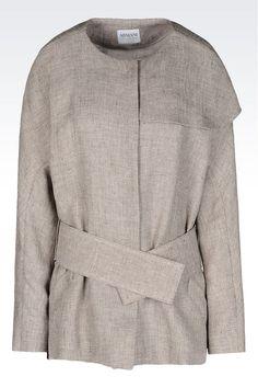 PEA COAT IN LINEN: Dust jackets Women by Armani - 0