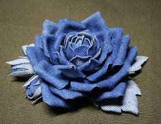 Blue denim roses brooch