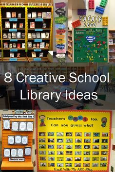 Inspired by These 8 Creative School Library Ideas! These ideas that will help you jazz up your media center all year round.Get Inspired by These 8 Creative School Library Ideas! These ideas that will help you jazz up your media center all year round. School Library Decor, School Library Lessons, School Library Displays, Library Lesson Plans, Middle School Libraries, Elementary School Library, Library Themes, Library Skills, Library Ideas