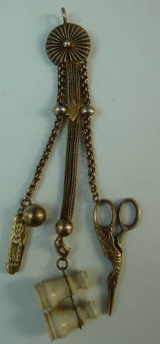 ANTIQUE DOLL CHATELAINE,binoculars,stork scissors,pen knife french fashion doll