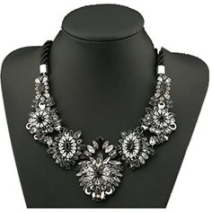 truecharms Womens Fahion Flower Choker Statement Necklace Pendants Collar Black *** Click on the image for additional details.-It is an affiliate link to Amazon.